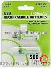 AA USB 1450mAh 1.2V NI-MH Rechargeable Battery