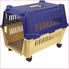 Large plastic dog pet carrier portable dog kennel crate travel dog kennel with wheels