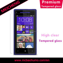 9H hardness electroplate coating 0.33mm thickness tempered glass film for htc 8x