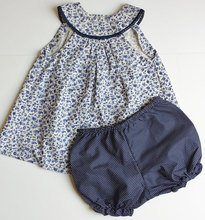 Organic cotton baby clothing round collar lace trim neck kids outfits children floral dress top with shorts underwear