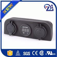 Motorcycle Cigarette Lighter Power Plug + Duel USB Charger Socket 12 V Outlet Power + Voltmeter Socket