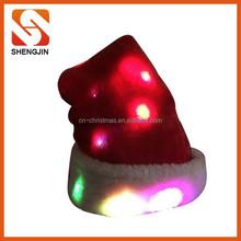 High quality plush christmas hat with LED lights/beautiful san