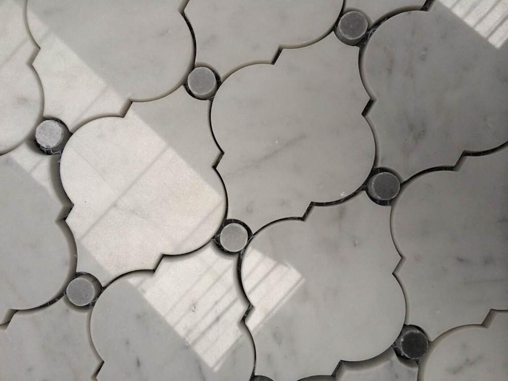 White Carrara Arabesque Water Jet Stone Mosaic Tile View