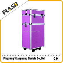 Hot-sell Purple Color Train Aluminum Wholesale China Trolley Case Makeup Box
