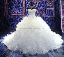 Popular Princess Embroidery Beaded no shoulder long tail wedding dresses FXL-005