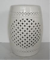 Hollow out of white garden furniture stool