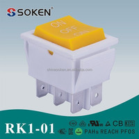 Soken made in china 6 pins yellow cap main power rocker switch