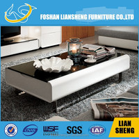 Modern Black Painting Top Glass +MILKY HIGH GLOSSY and Stainless steel leg Solid wood COFFEE TABLE