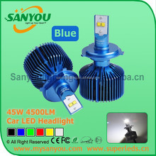 Sanyou 45W Car LED Headlight, 6000K 4500LM auto LED Headlight , blue color 12V automotive headlight H4/H7/H8/H9/H11/H16/D