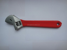 """factory supply OEM red color dipped PVC handle pitted surface handle pearl nickel american european type adjustable wrench 8"""""""