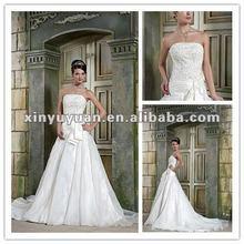 2012 Modern Strapless A-line Applique Organza Wedding Gowns Bridal Dress Long Train xyy03-075