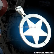 Captain America Symbol Hot Sale Round Star Pendant necklace Stainless Steel