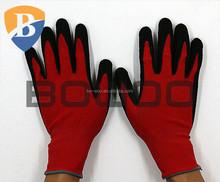 Nitrile mirco foam working glove red nylon spandex coated glove