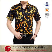 Men's cotton yarn dyed fabric short sleeve Hawaiian shirts with beautiful flower patterns