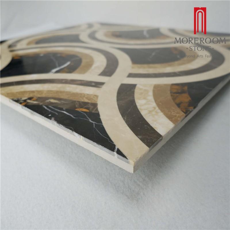 Moreroom Stone Italy Portopo Gold Marble Nero Margiua Black Marble Turkish Beige Marble Flooring Tiles Water Jet Medallion Floor Design Polished Marble Backed Ceramic Tiles-4.jpg