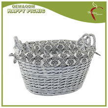 Set/3 oval grey color willow basket with cotton lining wicker storage basket
