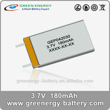 ultra thin rechargeable high capacity storage lithium poly battery GEP402030 180mah