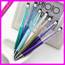 Touch ballpen with crystal wholesale metal stylus pen with diamond, metal ball pen with diamond