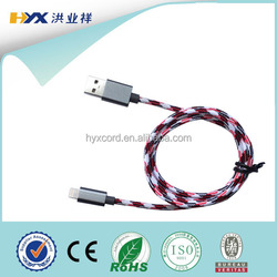 Fabric braided aluminum case charging cable for apple iphone mfi cable ,for ipad usb cable