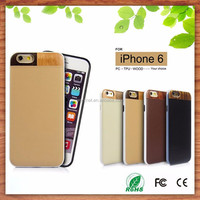 2015 hot new christmas gift tpu pc leather flip cover case for iphone 6plus, wood cell phone case for iphone 6 plus