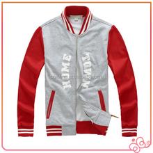 oem service fashion china wholesale fleece zipper baseball man's coat