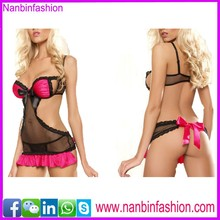 nanbinfashion new style black xxl sexy girl babydoll with red lace