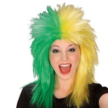 party green and yellow movie wigs