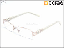 2015 semi rimless french acetate glasses leg decoration cheap eyeglass frames for women prescription