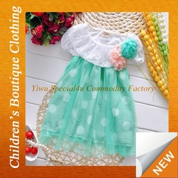 latest style Wholesale European Girls white lace design whith chiffon white dots design fancy dresses for baby girl Lyd-190
