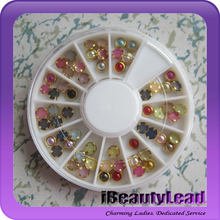 Mixed colors 3D nail pearl with gold wrap nail art decoration with 60pcs or 120pcs