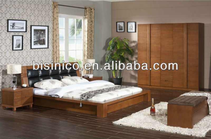 Contemporary Bedroom Solid Wooden Storage Bed Natural Wood Bedroom Furniture