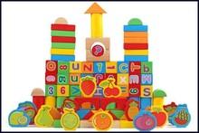 wooden fruit and number block, children wooden blocks, block toy for children