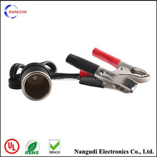 12V stainless steel car alligator clip battery clip crocodile clip with car outlet female socket