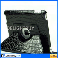 360 degree rotating Smart Cover case with artificial leather for iPad 2/3 (BLACK)