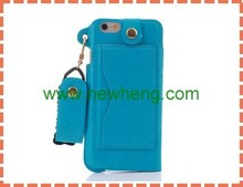 For iphone6 Water Leather Case With Back Card Holder Neck Strap Lanyard