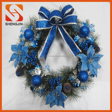 "SJ-6570 22"" Christmas Holiday bow Poinsettia Pine Wreath blue green ornaments"
