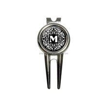 2015 Letter M Initial Black and White Scrolls Golf Golfing Divot Repair Tool and Ball Marker