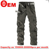 casual men baggy work pants, cargo pants, multi-pockets outdoor pants overall
