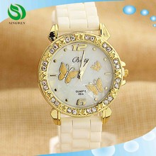 13 Color GENEVA Watches Diamond Silicone Stylish Women Dress Quartz Wristwatch