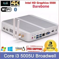 Broadwelll Core i3 smart mini pc thin client 4K resolution Dual display VGA+HDMI tsunami smart pc mini itx aluminium case
