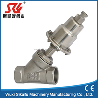 single double acting pneumatic control angle seat valve, for air, water, gas, steam, oil
