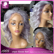 Beautiful Fashion Silver Wig Glueless Lace Front Wig Body Wave Grey Malaysian Human Hair Full Lace Wig With Baby Hair in stock