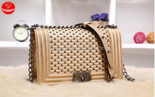 Z 2015 brand leather handbag new tide woven chain ling grid bag/sheepskin shoulder aslant retro lady bags