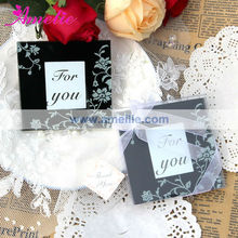 """AE075 """"Timeless Traditions"""" Elegant Black & White Glass Photo Coasters High Quality Wedding Giveaways"""
