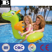 promotional customized pvc inflatable baby dragon ride-on toy plastic pool dragon rider toy