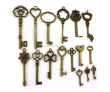 16pcs/lot Retro Mix Key shape Charms Pendants For Jewelry Making