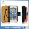 hot selling wallet case for iphone 5 with touch pen stylus