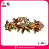 2014 Stylish acrylic jewelry colorful rhinestone large flower ladies fancy hair alligator clips