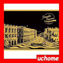 UCHOME Newest Scratch Night View,Lago Design Scratch Art Paper,Wholesales Scratch Art 3D Postcard With Pen