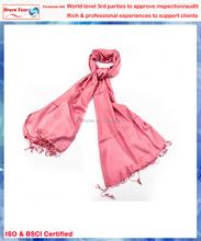 Deep pink classic plain with tassels echo silk scarf,silk scarf tying,evening scarf